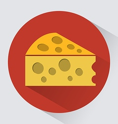 Piece of cheese round icon vector