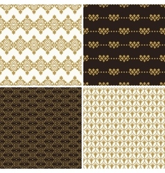 Seamless vintage floral background gold and black vector
