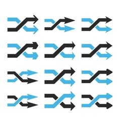 Shuffle arrows right flat icon set vector