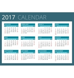 Calendar for 2017 week starts sunday simple vector