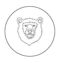 Brown bear muzzle icon in outline style isolated vector