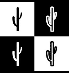 Cactus simple sign black and white icons vector