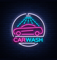 Car wash logo design emblem in neon style vector