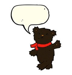 cartoon waving teddy black bear with speech bubble vector image vector image
