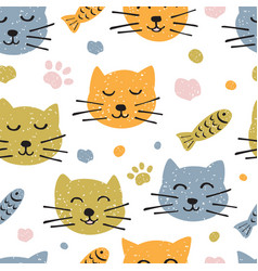childish seamless pattern with hand drawn cute vector image
