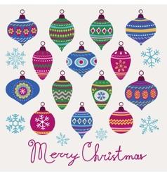 Christmas baubles card vector