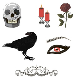 Collection of gothic details vector image vector image