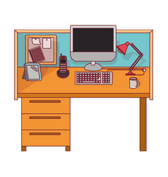 Colorful graphic of workplace office interior with vector