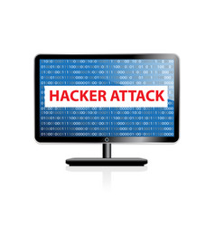 Computer hacking system icon monitor with binary vector