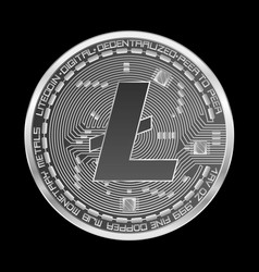 crypto currency litecoin silver symbol vector image