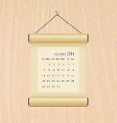 December2014 calendar on wood wall vector image