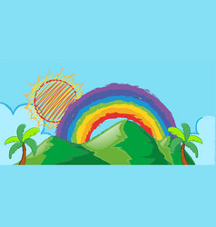 Doodle scene with rainbow over the mountain vector
