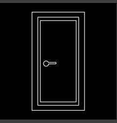 Door the white path icon vector