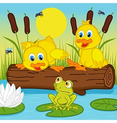 Ducklings looking at frog vector