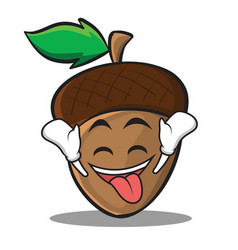ecstatic acorn cartoon character style vector image vector image