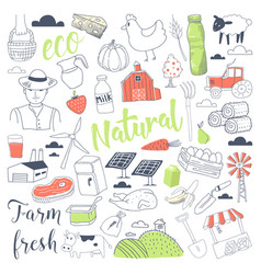 farming freehand doodle with dairy products vector image