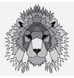 Gray low poly lined lion vector