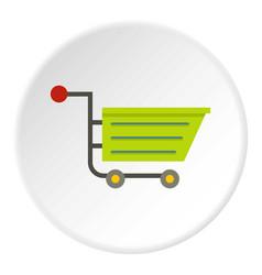 Green sale shopping cart icon circle vector