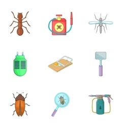 Harassment of insects icons set cartoon style vector