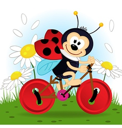 Ladybug on bike vector