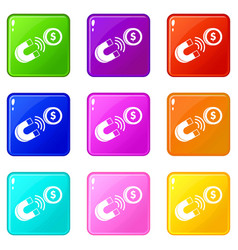 Magnet with coin set 9 vector