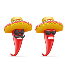 Mexican hat red cool hot chili pepper sunglasses vector