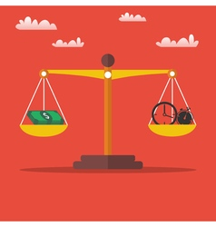 Money and time balance on the scales vector
