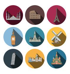 nine flat landmark icons vector image vector image