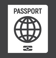 Passport solid icon travel and citizenship vector