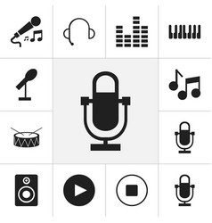 set of 12 editable music icons includes symbols vector image vector image