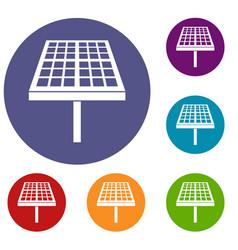 Solar energy panel icons set vector