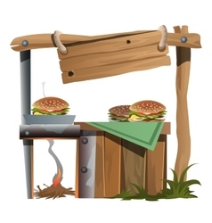 Stand for preparation and selling of burgers vector image