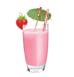 strawberry smoothie or milkshake vector image