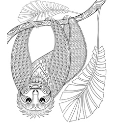 Zentangle three-toed sloth climbing on a vector