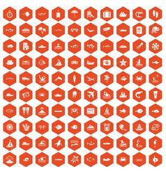 100 ocean icons hexagon orange vector