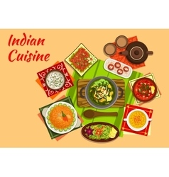Indian cuisine menu with dishes and desserts vector
