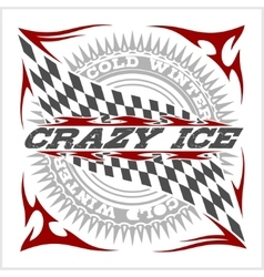 Racing emblem crossed checkered flags wheel and vector image