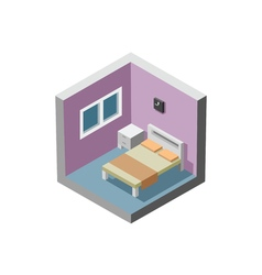 Isometric of bedroom interior bed table window vector