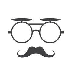 Glasses and mustache icon in black over vector