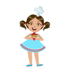 Girl holding plate with piece of cake cute kid in vector