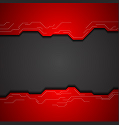 Red and black tech corporate background vector
