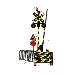 A railway crossing gate vector