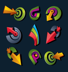 3d abstract shapes different business icons and vector