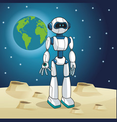 Robot android earth space moon vector