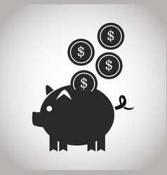 Piggy coins money safety banking pictogram image vector