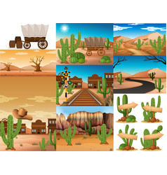 Desert scenes with cactus and buildings vector