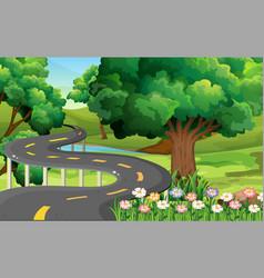 Park scene with empty road vector