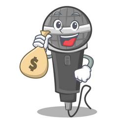 With money bag microphone cartoon character design vector