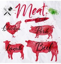 Set meat silhouettes vector