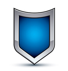 Heraldic blue emblem with silver outline 3d vector